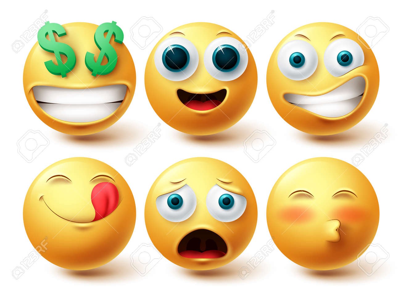 Emoji smiley vector set. Smileys emoticon happy collection facial expressions isolated in white background for graphic design elements. Vector illustration - 171747796