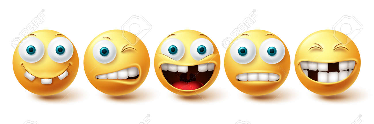 Smiley emoji funny teeth vector set. Smileys emoticon funny teeth and crazy collection facial expressions isolated in white background. Vector illustration - 171747798