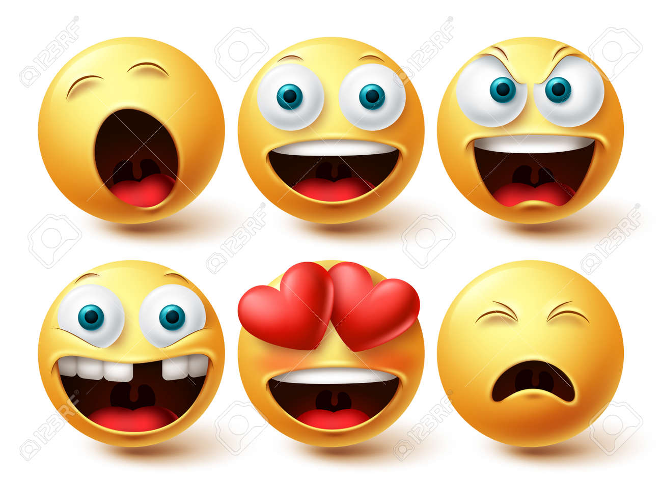 Emoji smileys happy vector set. Smileys emoticon happy, in love and sleepy face collection facial expressions isolated in white background for graphic design elements. Vector illustration - 171747800