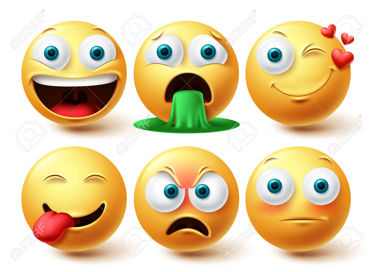 Emoji smileys vector set. Smileys emoticon happy, winking and angry face collection facial expressions isolated in white background for graphic design elements. Vector illustration - 171747803