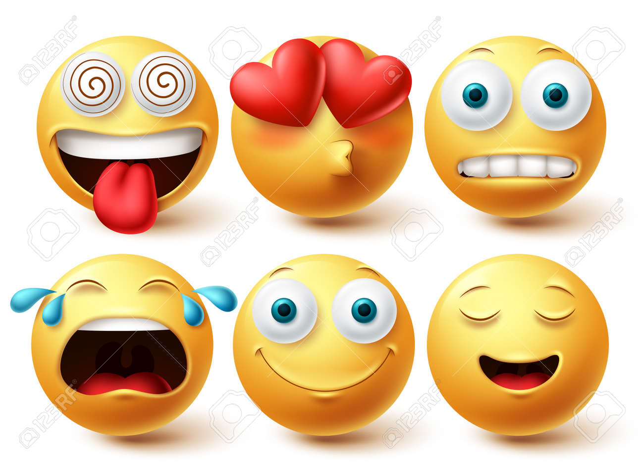 Smiley emoji vector set. Smileys emoticon happy, in love and crying faces icon collection isolated in white background. Vector illustration - 171747804