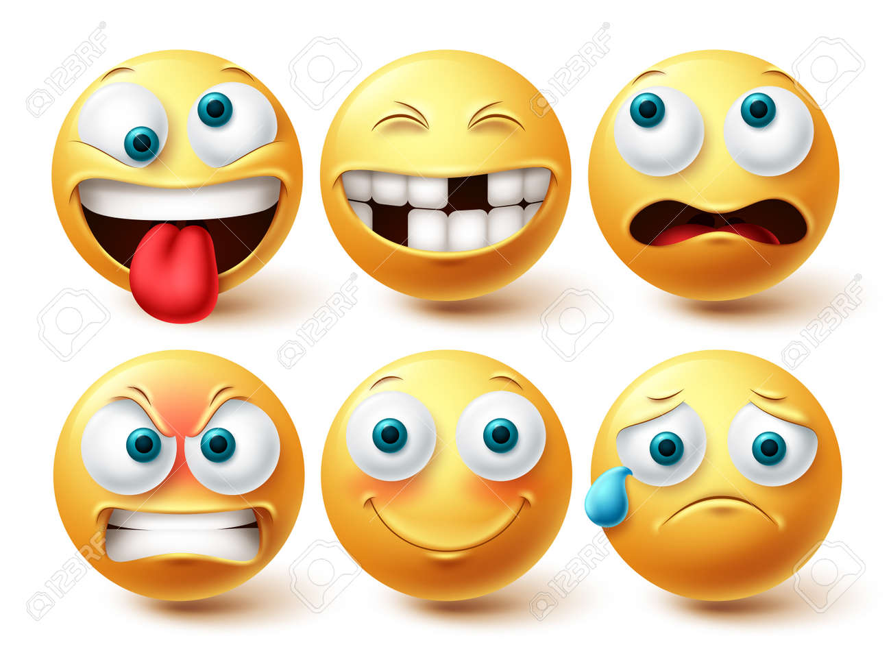 Smiley funny emoji vector set. Smileys emoticon yellow icon collection isolated in white background for graphic elements design. Vector illustration - 171747805