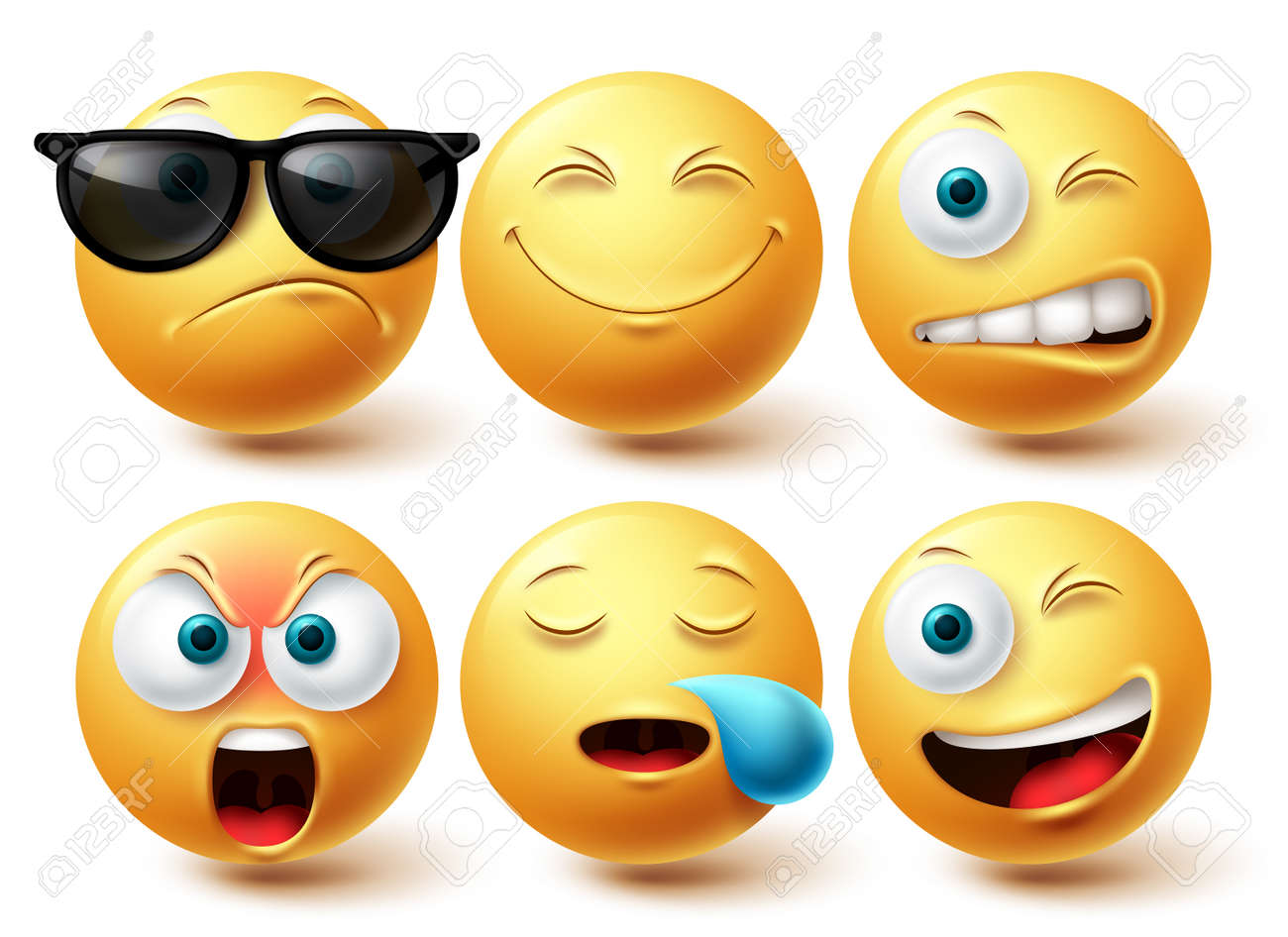 Smiley cool emoji vector set. Smileys emoticon yellow icon collection isolated in white background for graphic elements design. Vector illustration - 171747806