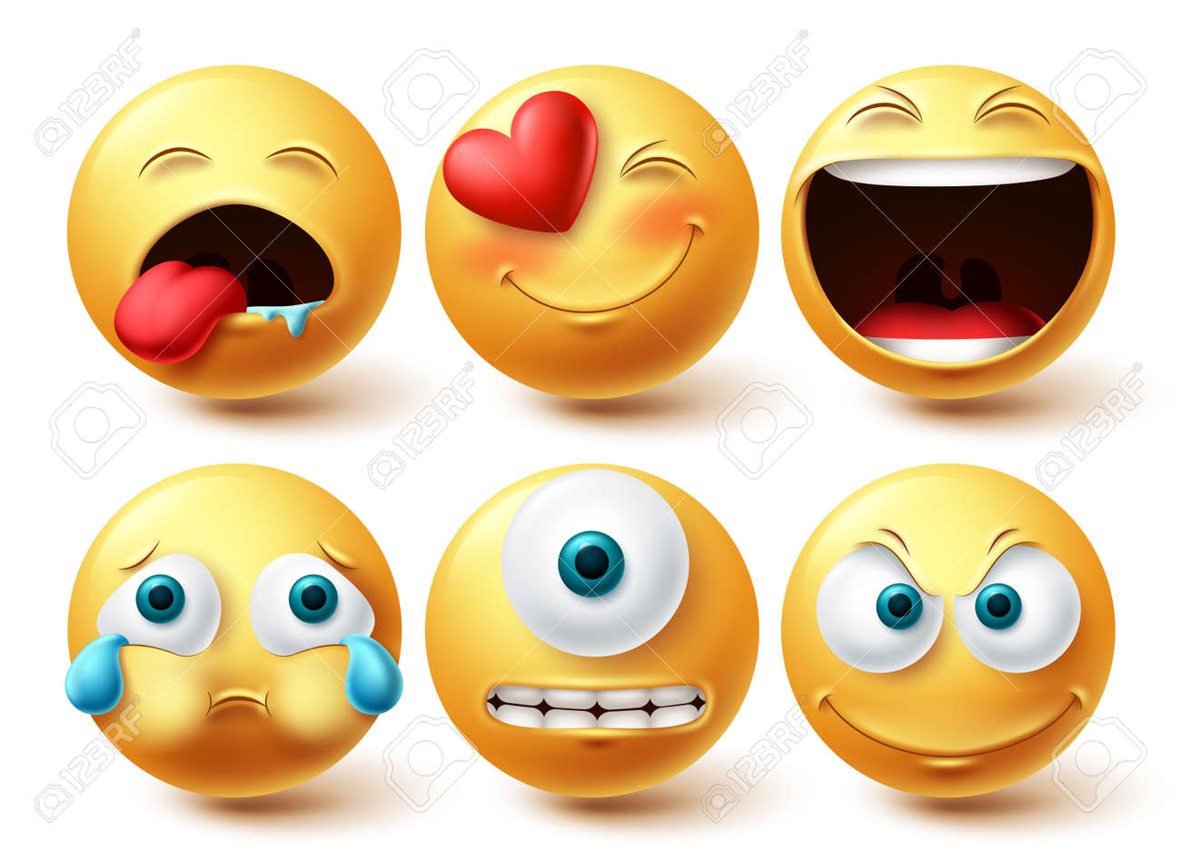 Smiley emoji vector set. Smileys emoticon happy, cute, crying and cyclops eye yellow icon collection isolated in white background for graphic elements design. Vector illustration - 171747807