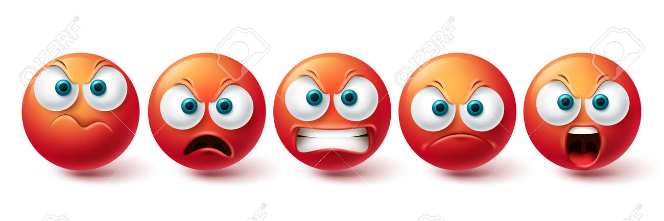 Smiley angry face vector set. Smileys emoticon mad, evil, angry and cruel red icon collection isolated in white background for graphic elements design. Vector illustration - 171929956