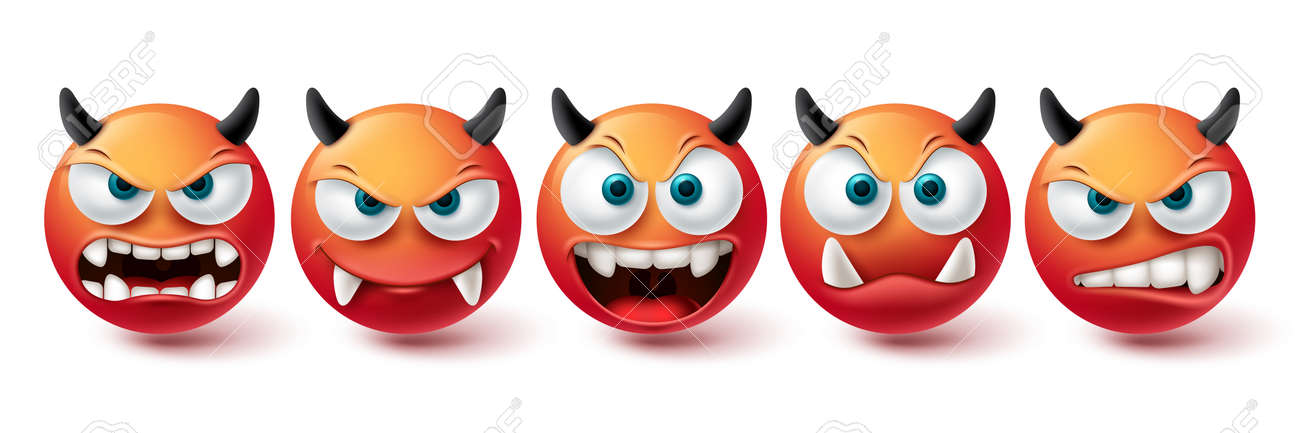 Smiley evil face vector set. Smileys emoji bad, monster, demon and scary red icon collection isolated in white background for graphic elements design. Vector illustration - 171929601