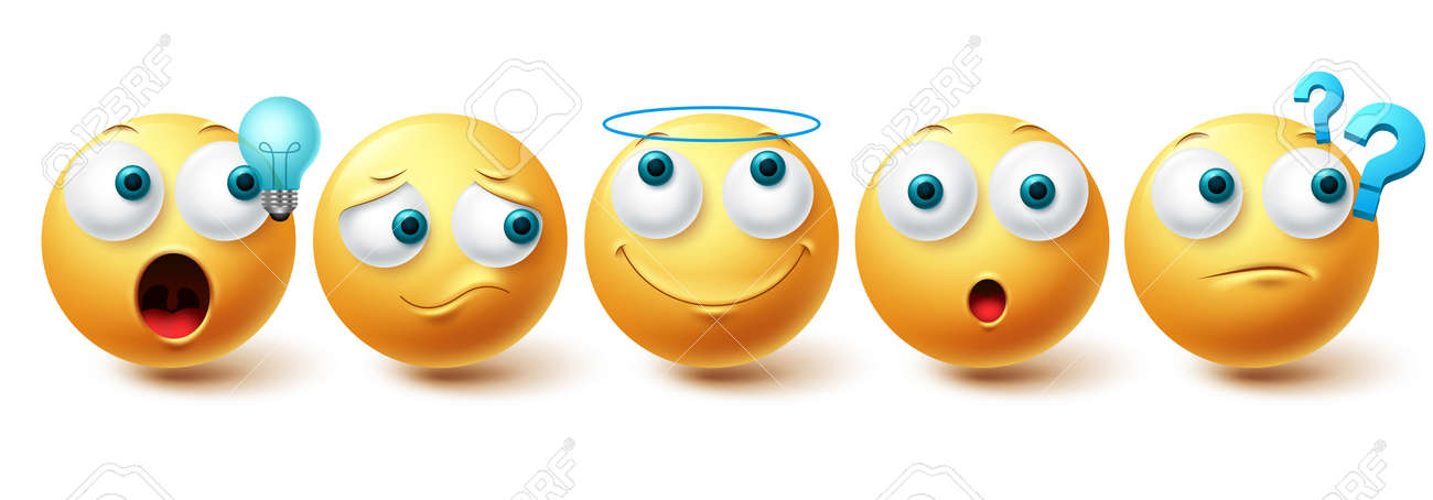 Smiley emoji vector set. Smileys yellow emoticon happy, sad, angel and thinking face collection isolated in white background for graphic design elements. Vector illustration - 171930106