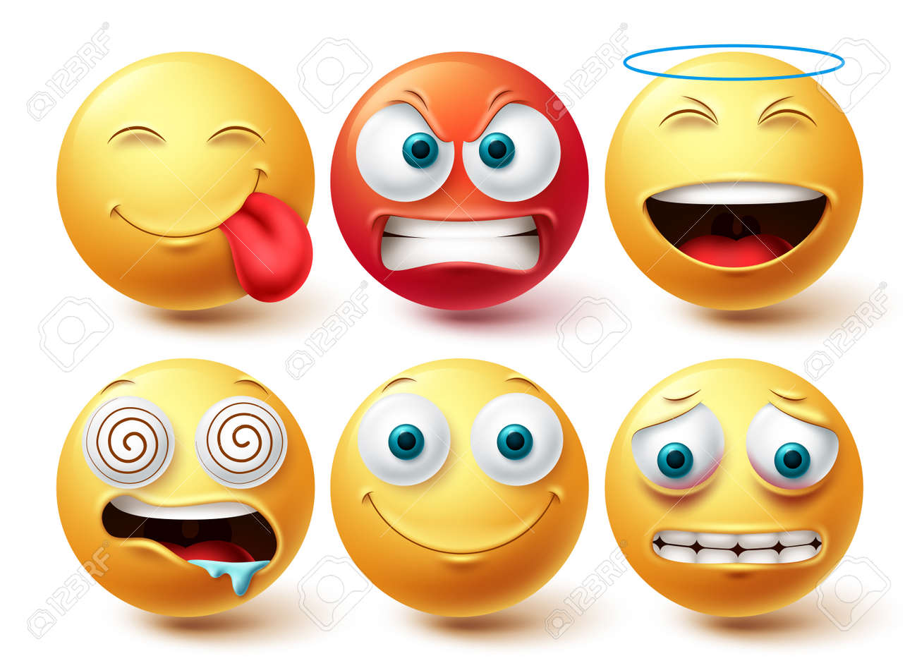 Smiley emoji face vector set. Smileys and emoticon happy, hungry and angry icon collection isolated in white background for graphic design elements. Vector illustration - 171929741