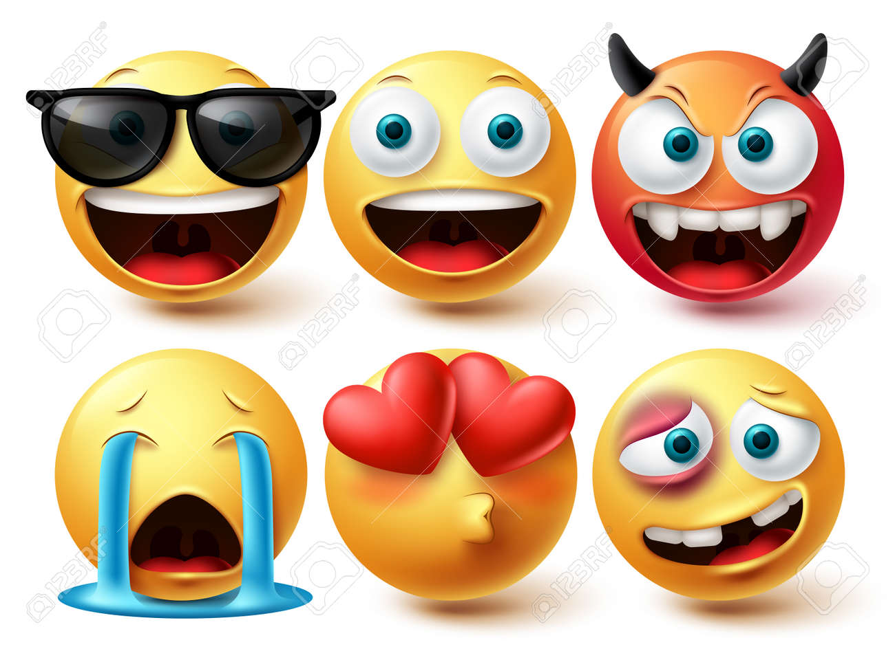 Smiley face vector set. Smileys emoji icon collection in isolated in white background for graphic design elements. Vector illustration - 171930971