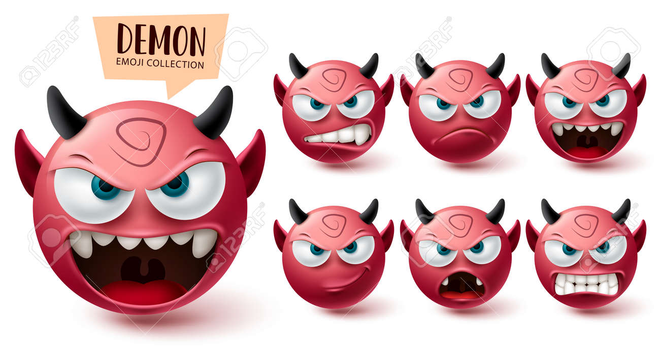 Smileys demon emoji vector set. Smiley emojis halloween red mascot character collection isolated in white background for graphic design elements. Vector illustration - 172400252