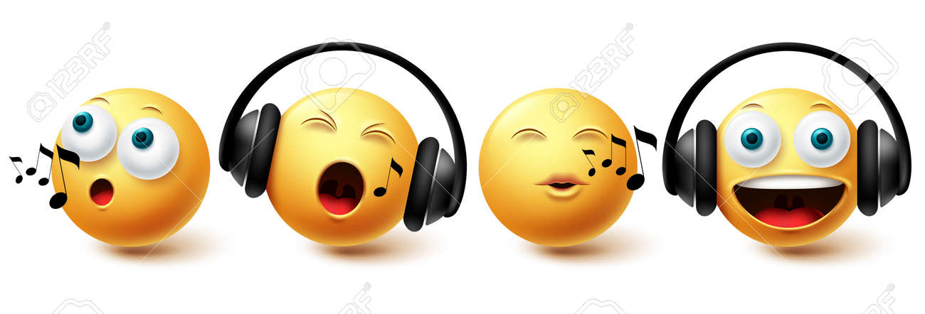 Smiley music emoji vector set. Smileys emoticon with headphones singing and listening icon collection isolated in white background for graphic design elements. Vector illustration - 172384311