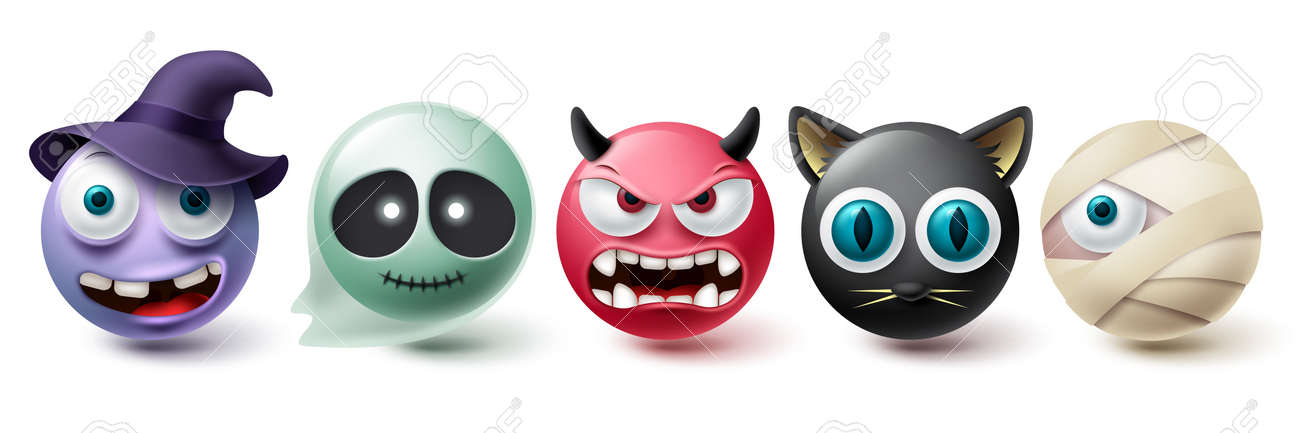 Smiley halloween emoji vector set. Emoticon and emojis in creepy and scary character collection isolated in white background for graphic elements. Vector illustration - 172384426