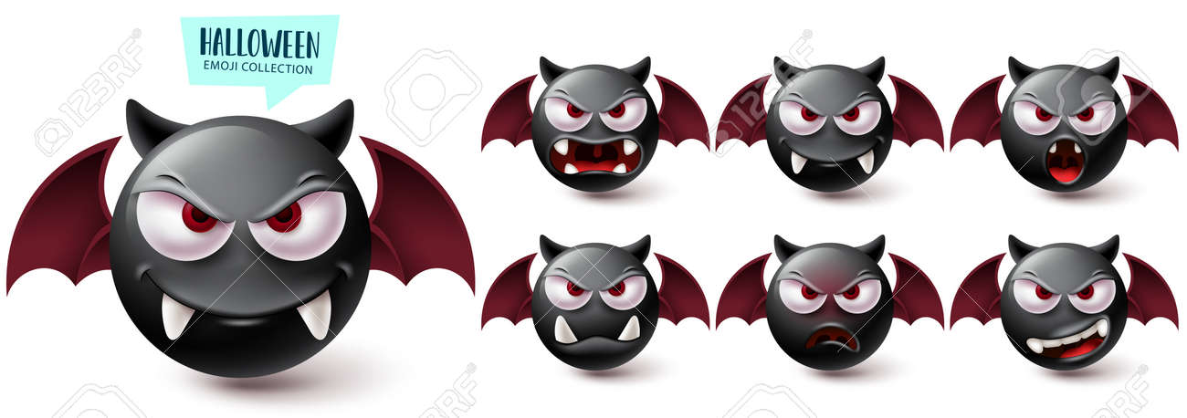 Smileys halloween emoji vector set. Smiley emojis creepy bat character collection isolated in white background for graphic design elements. Vector illustration - 172400255