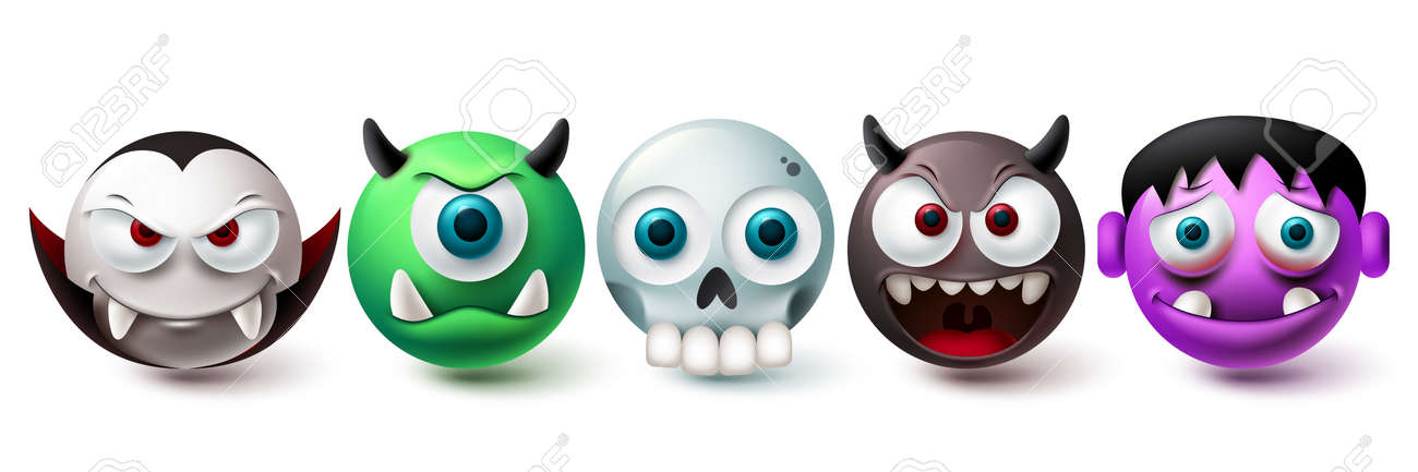 Smileys halloween vector set. Smiley and emojis graphic elements in creepy, horror and scary character collection isolated in white background. Vector illustration - 172384525