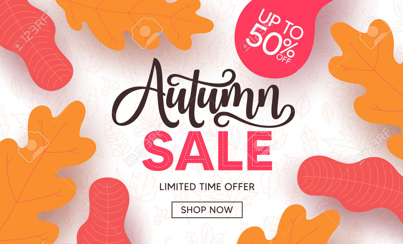 Autumn sale vector banner design. Fall season shopping discount with maple and oak leaves element for promotion design. Vector illustration - 172467072