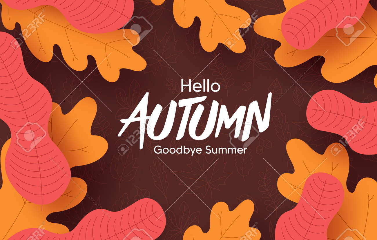 Autumn vector background design. Hello autumn greeting text with orange and yellow leaves element for fall season in doodle background. Vector illustration - 172467405