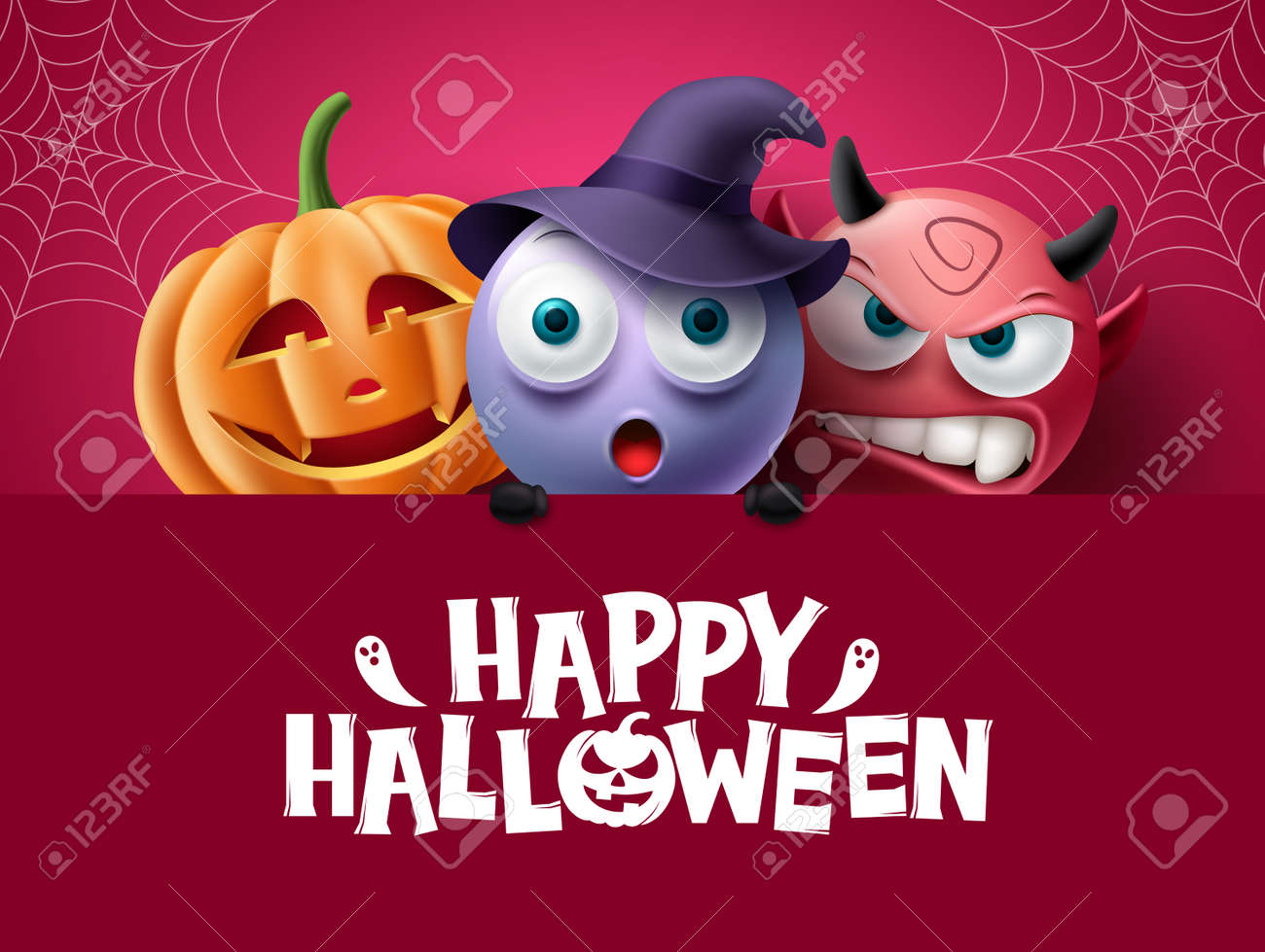 Halloween characters background design. Happy halloween text in red space with creepy, spooky and scary characters for horror party decoration. Vector illustration. - 172903071