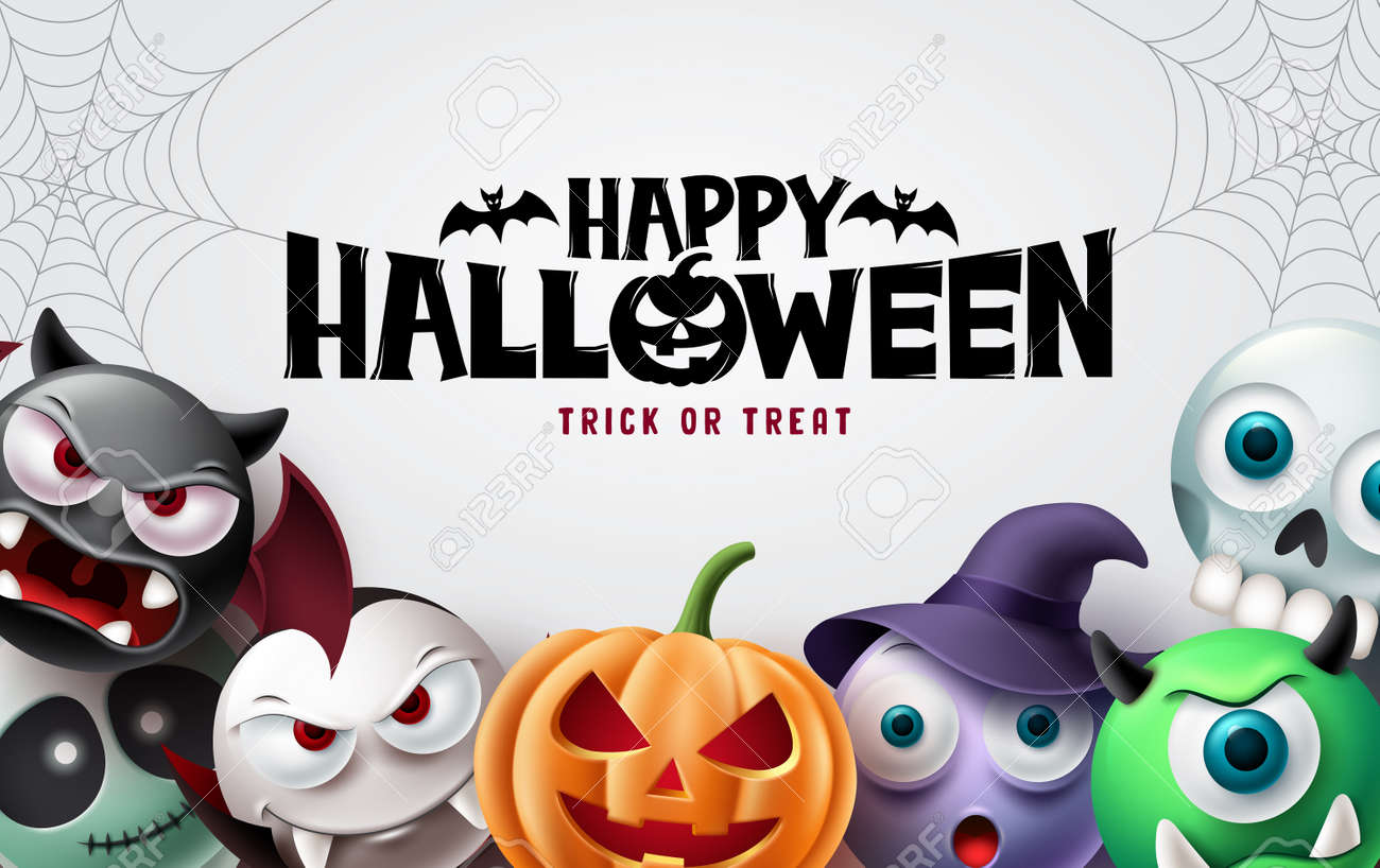 Happy halloween background design. Halloween trick or treat text with scary pumpkin, witch, vampire and skull for horror party decoration. Vector illustration. - 172920315