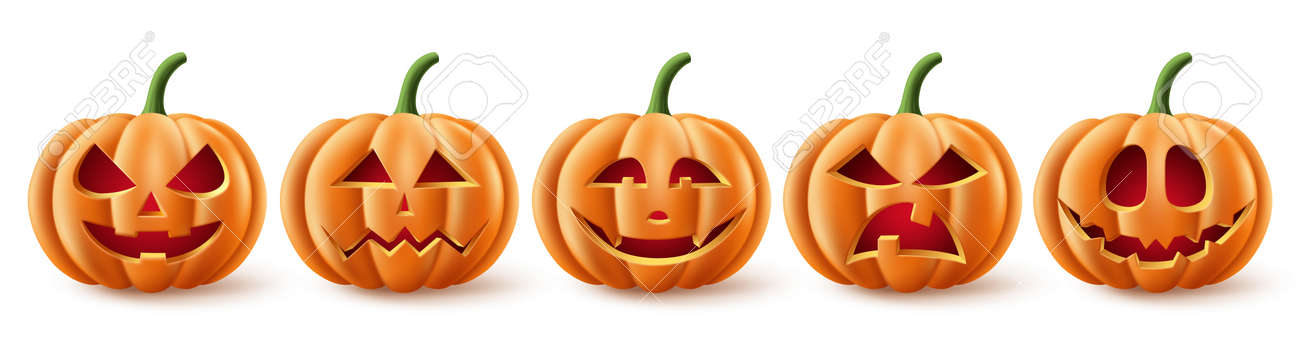 Halloween pumpkins vector set. Halloween pumpkin element collection in spooky, scary and creepy with facial expressions for icons and decorations isolated in white background. Vector illustration. - 172903249