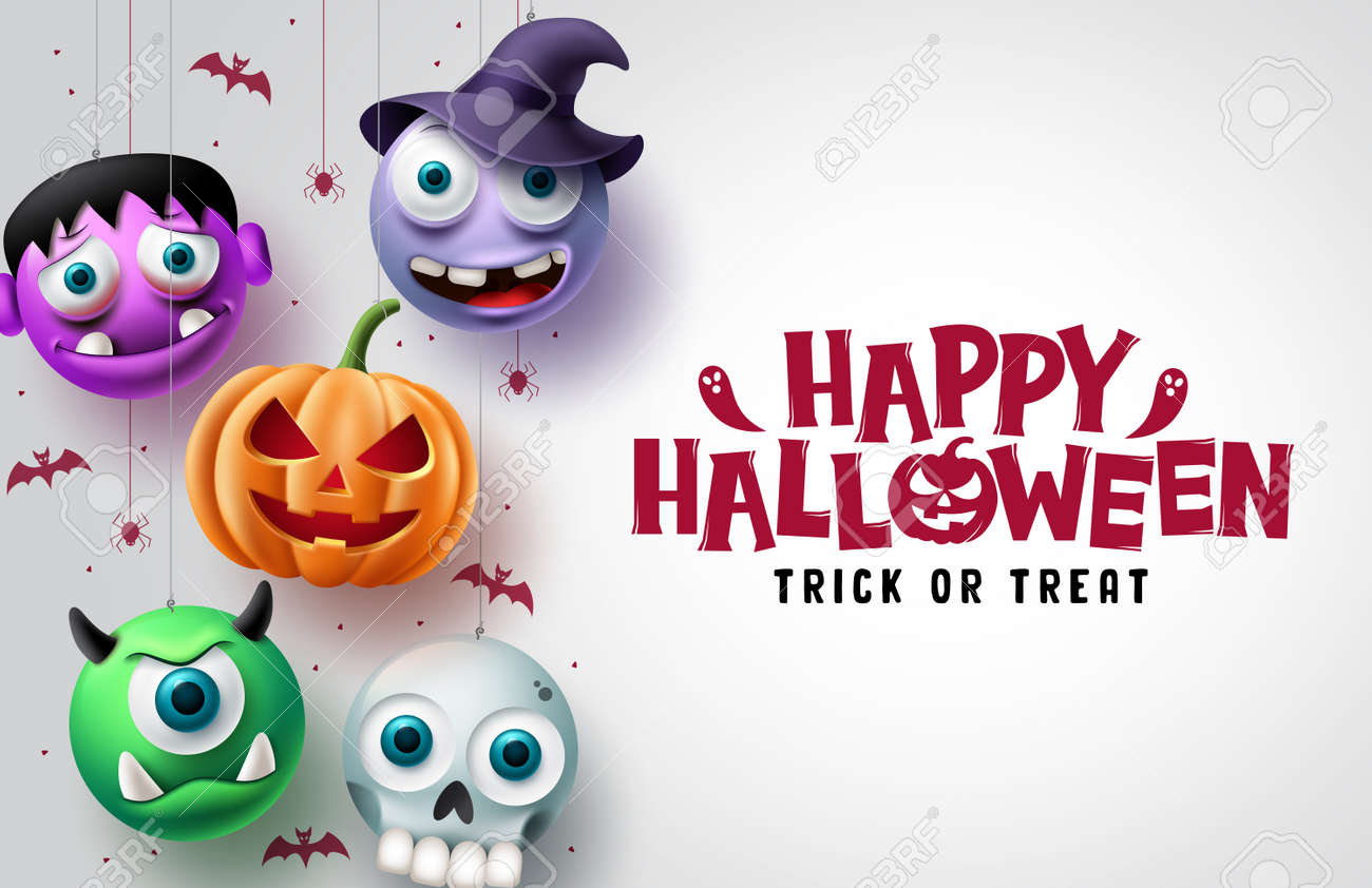 Halloween character vector background design. Happy halloween trick or treat text in white space with hanging scary pumpkin, skull, and witch horror characters. Vector illustration. - 172903176