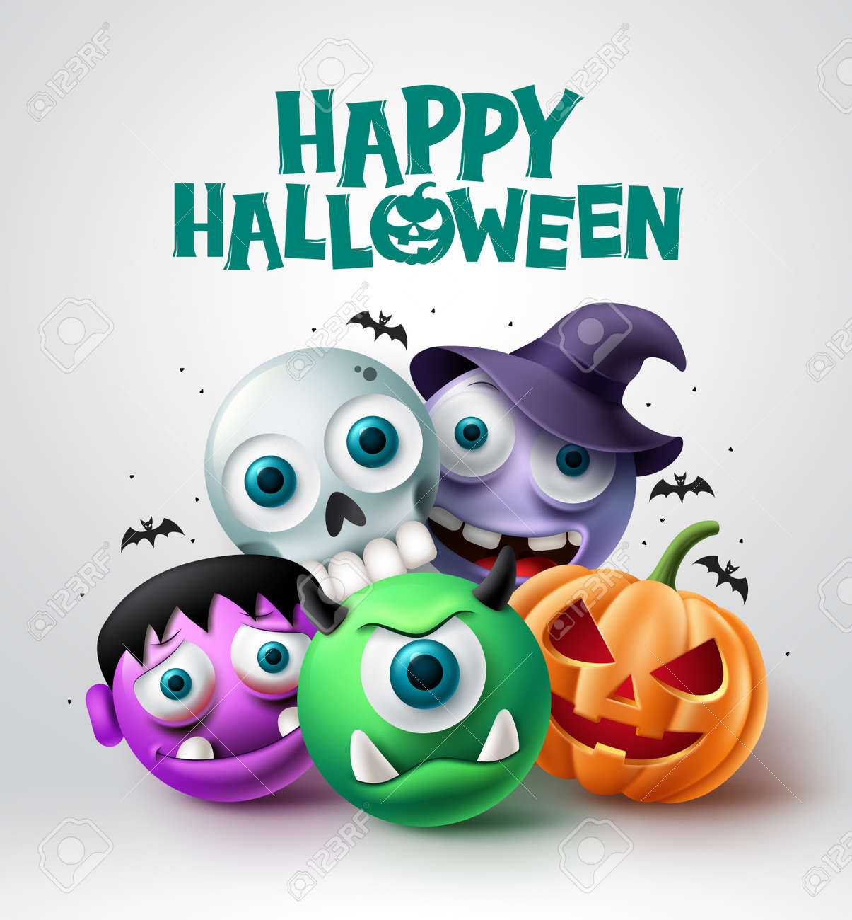 Halloween character vector design. Happy halloween text with scary pumpkin, skull, witch and cyclops horror characters background. Vector illustration. - 172920334
