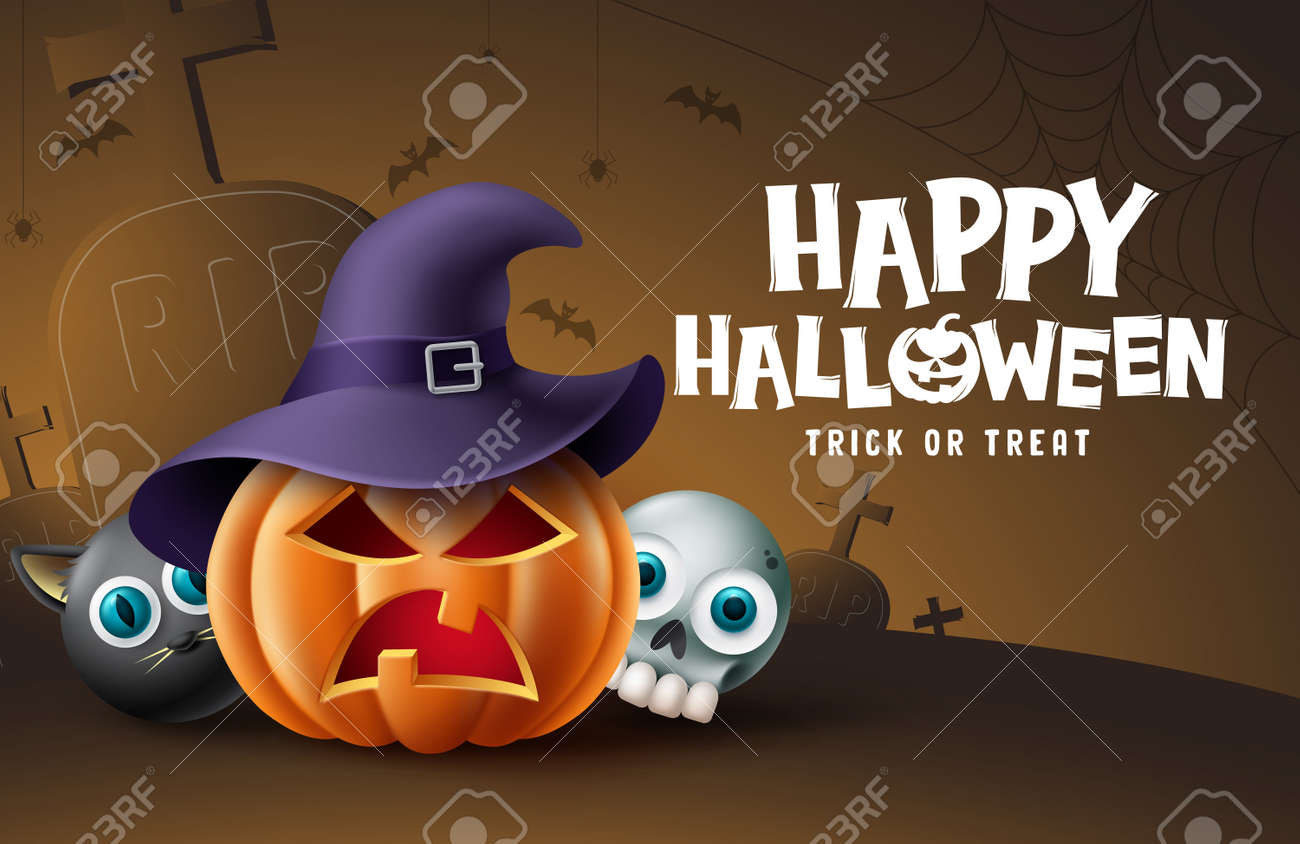Happy halloween cemetery background design. Halloween trick or treat text with pumpkin, skull and cat scary character in grave yard background. Vector illustration - 173033411