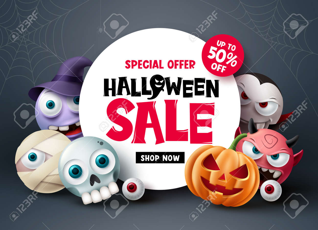 Halloween sale banner design. Halloween special offer discount text with scary and spooky cute character for holiday shopping advertisement background. Vector illustration - 173033609