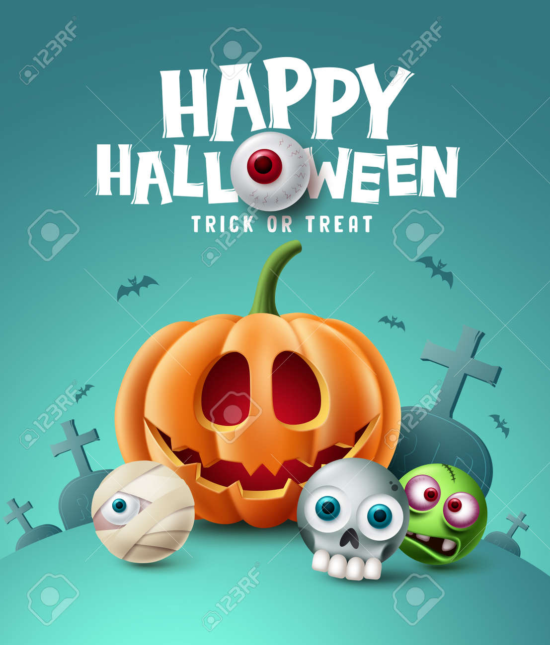 Happy halloween background design. Halloween trick or treat text with eyeball element and scary cute character in grave yard cemetery background. Vector illustration - 173033780