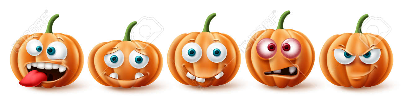Halloween pumpkins vector set. Halloween pumpkin character in funny, happy and scary facial expression for element collection isolated in white background. Vector illustration. - 173206011