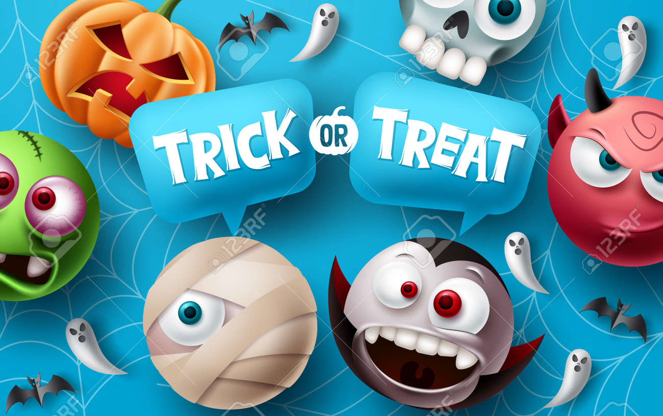 Trick or treat halloween vector design. Halloween character elements with trick or treat typography text in speech bubbles space for cute and scary mascot celebration. Vector illustration. - 173206383