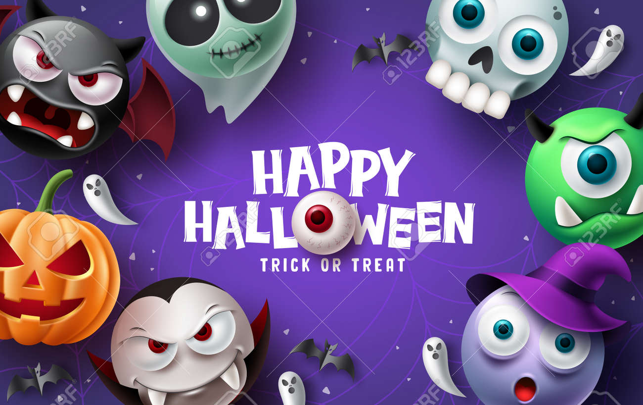 Happy halloween text vector background design. Halloween and trick or treat typography with scary, spooky, creepy and cute mascot characters. Vector illustration. - 173206977