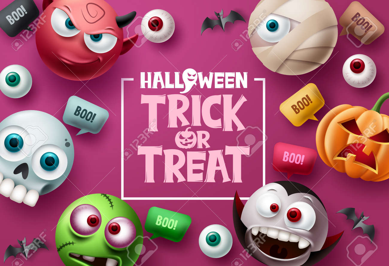 Trick or treat halloween vector background design. Halloween trick or treat text in pink space with cute, scary and spooky mascot characters with speech bubbles elements. Vector illustration. - 173207051