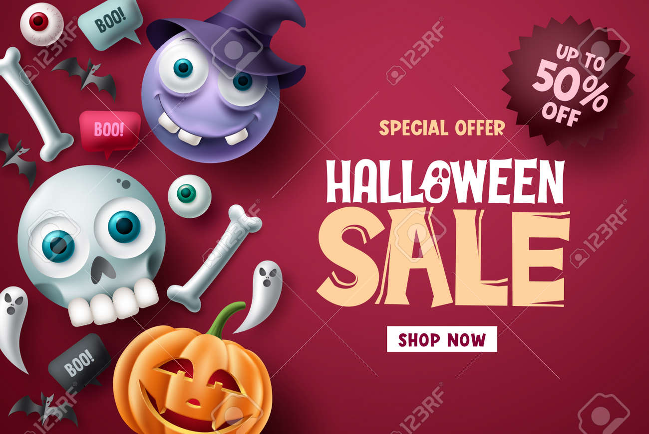 Halloween sale vector banner background design. Halloween special offer discount text with cute and scary emoji character for promotion ads. Vector illustration. - 173724848