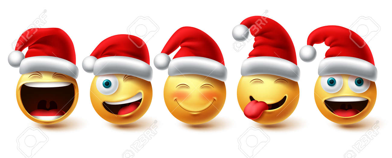 Christmas emoji vector set. Smiley xmas characters wearing santa red hat icon collection isolated in white background for graphic design elements. Vector illustration. - 173780383