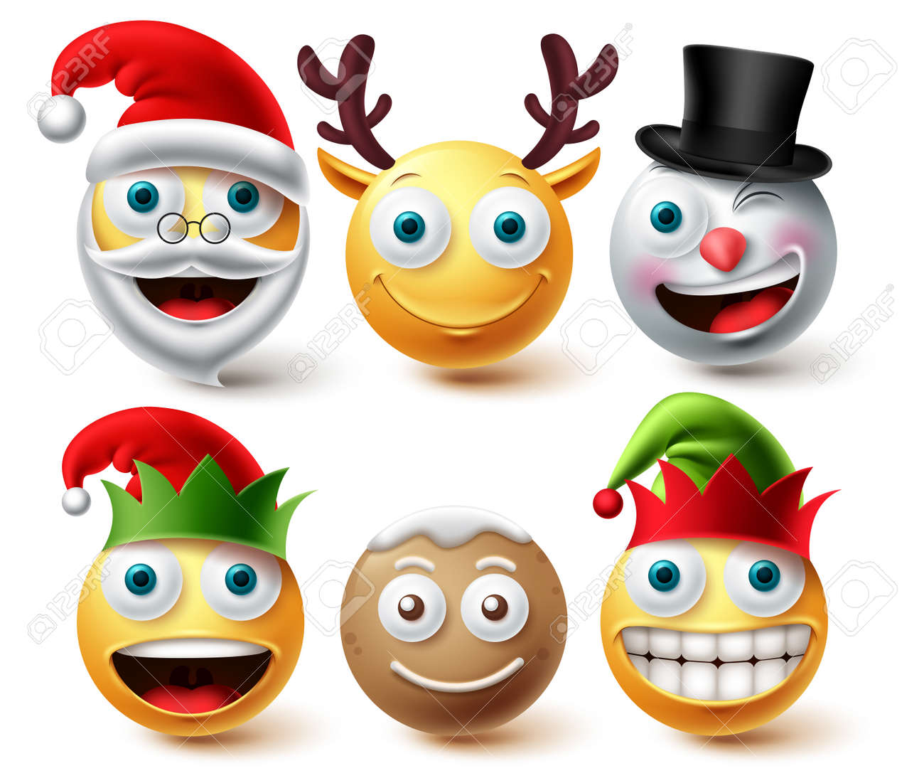 Christmas emoji vector set. Smiley xmas characters like santa, elf, gingerbread and raindeer icon collection facial expression isolated in white background for graphic design elements. Vector - 173780560