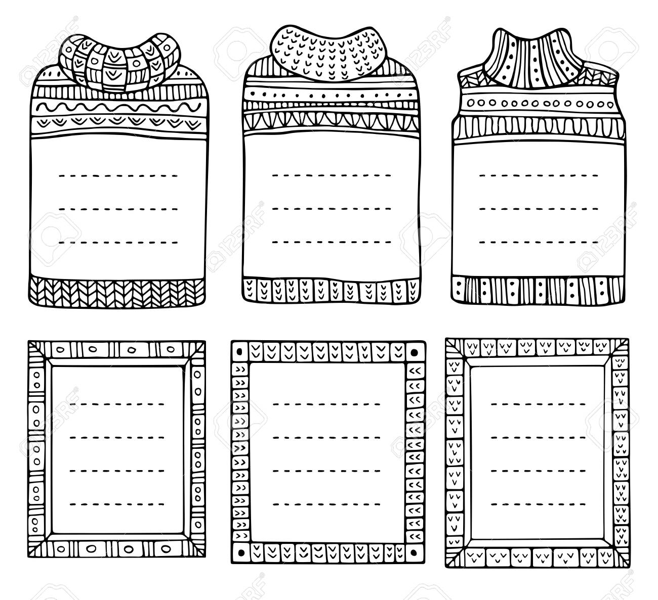 Set of hand-drawn winter knitted frames in the shapes of jumpers and rectangular. Doodle black borders for bullet journal, notebook, diary, and invitations. Christmas elements isolated on a white. - 134811822