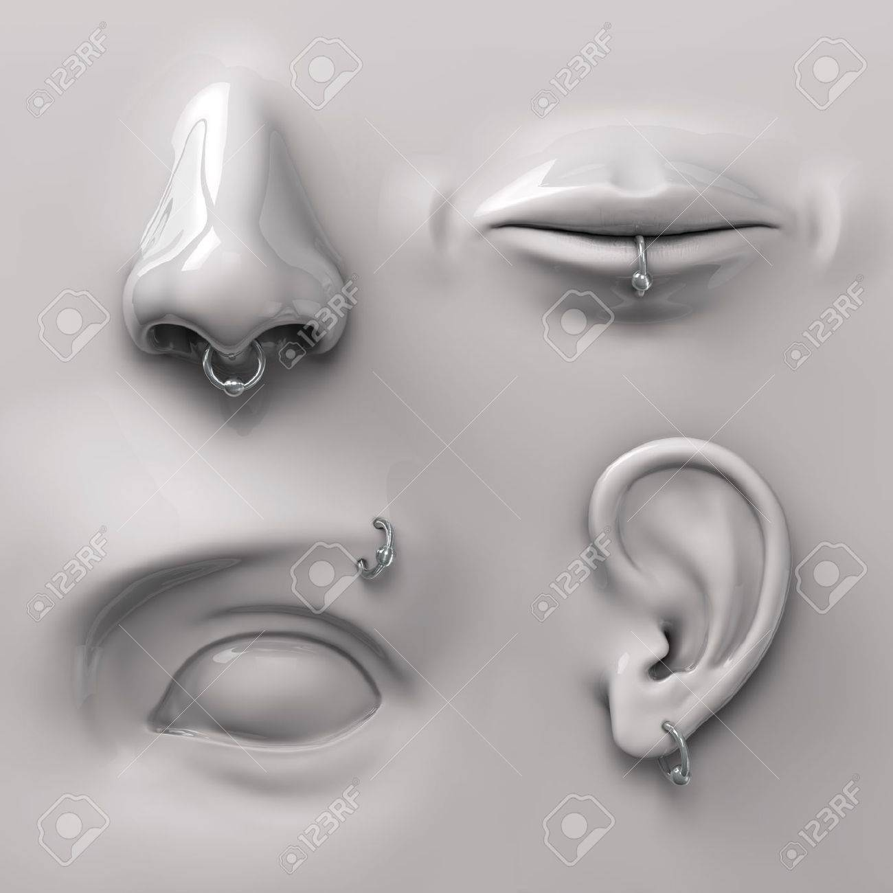 parts of the face with piercing Stock Photo - 15972813