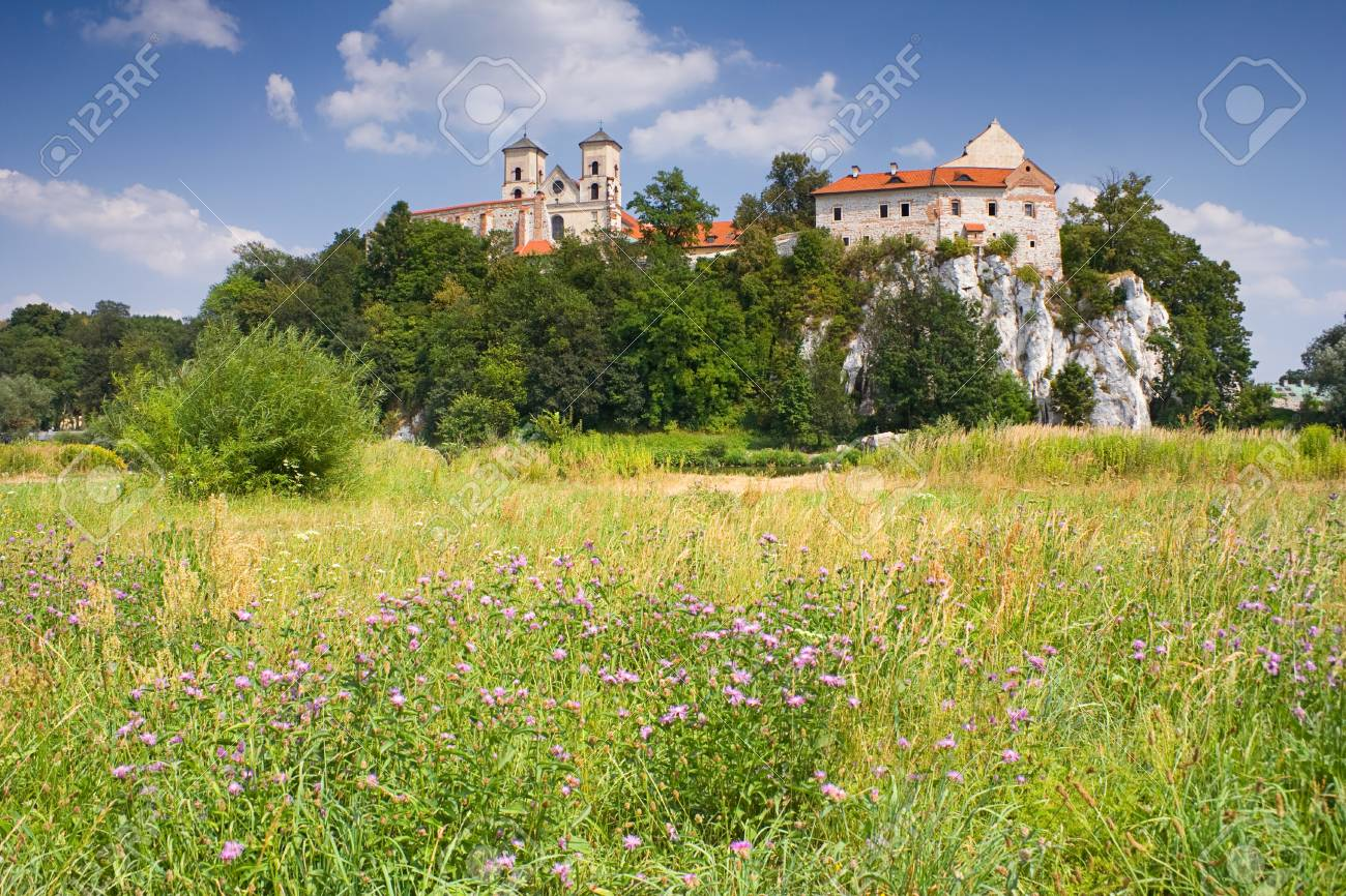 Benedictine monastery and Saint Peter and Paul church on the rocky hill by the Vistula river in Tyniec near Cracow, Poland Stock Photo - 15804013