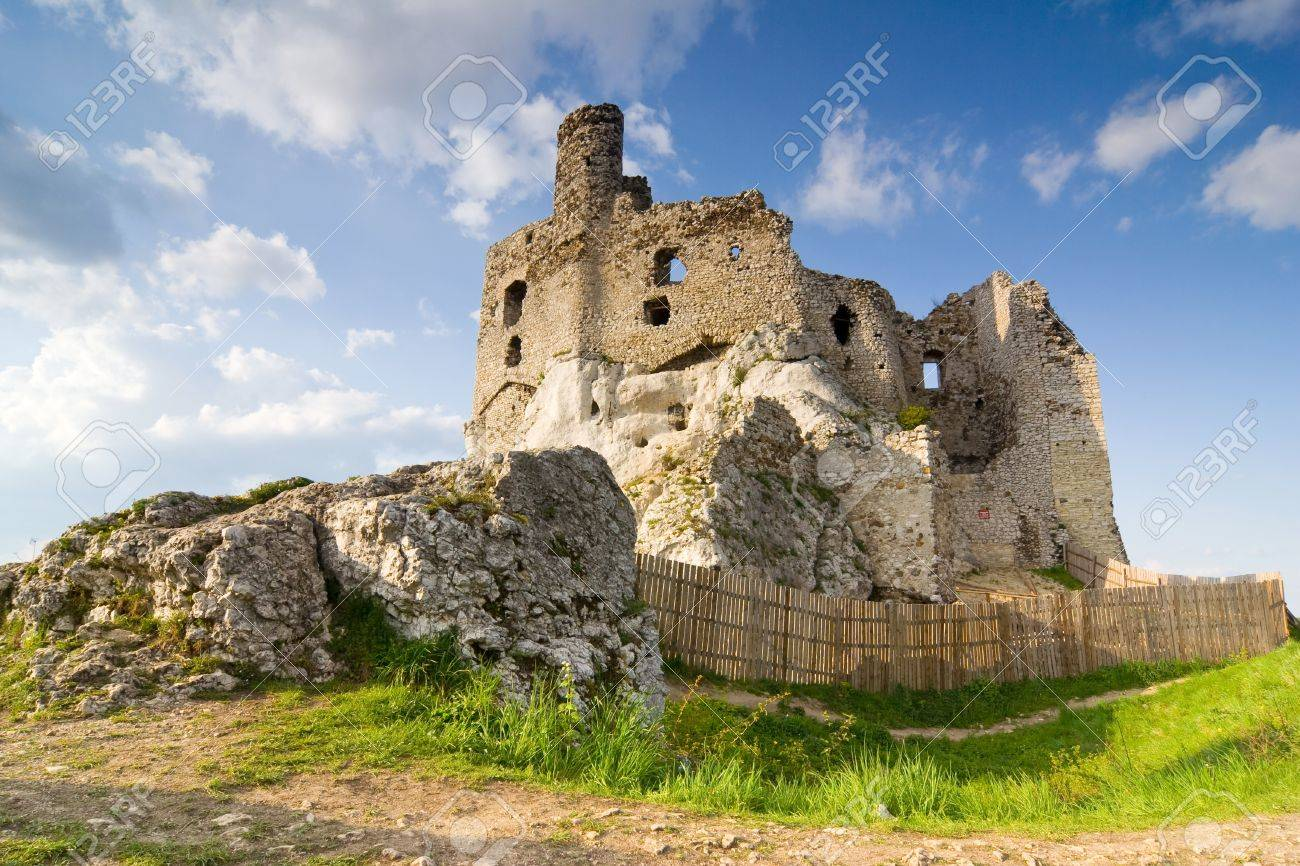 Ruins Of Medieval Castle Mirow In Poland Stock Photo