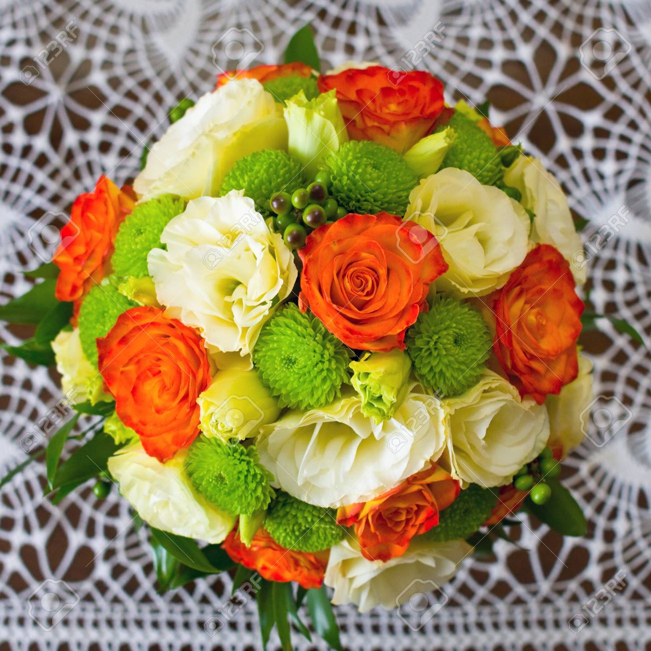 Wedding Bouquet Of Yellow And White And Orange Roses Stock Photo