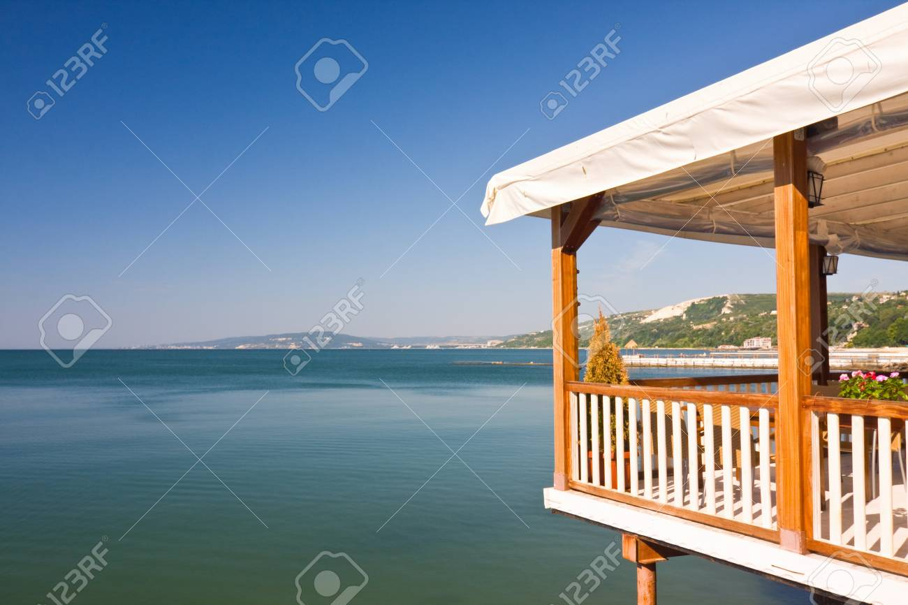 Outdoor restaurant at the beach  Stock Photo - 20976351
