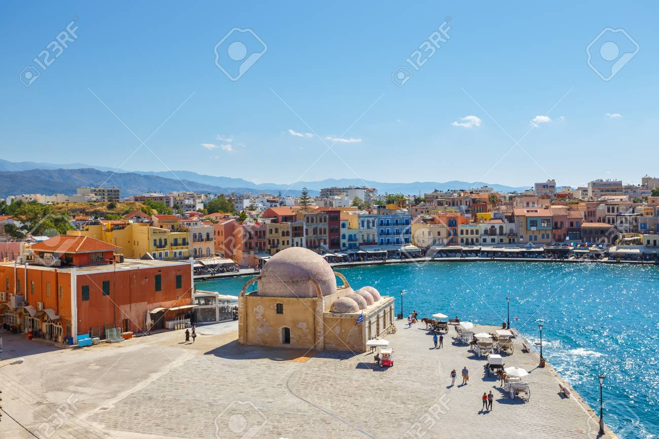 Chania Crete 25 Maj 2016 Aerial View Of The Old Harbor In