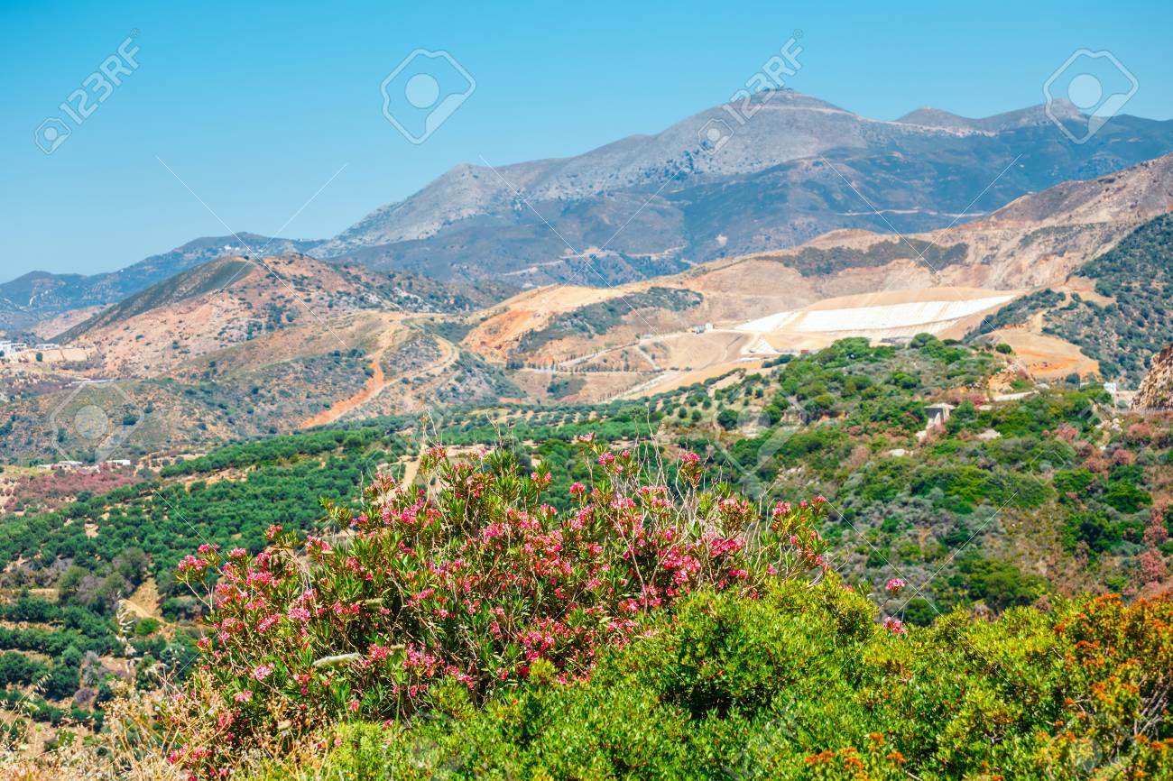 Beautiful Mountain Landscape Of Crete Island Greece