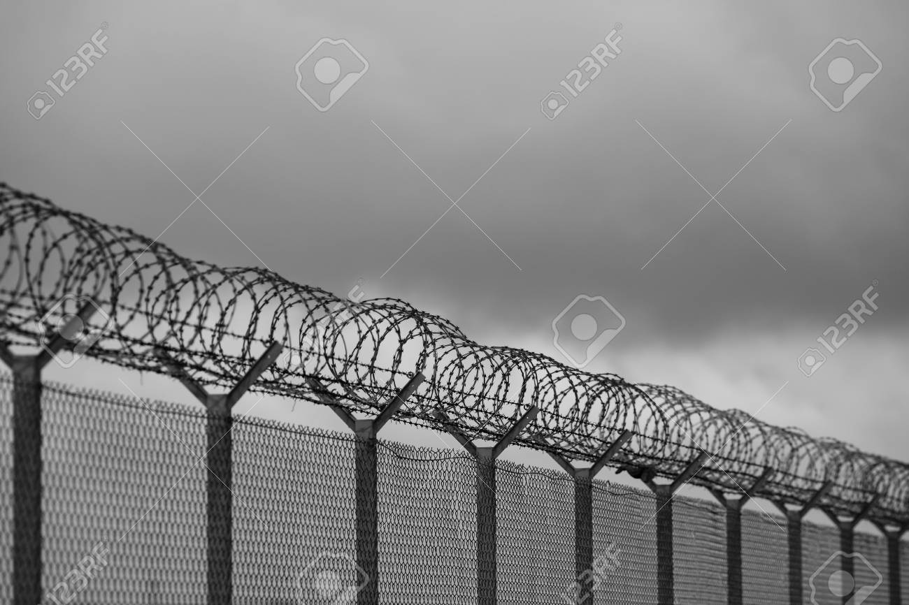 Barbed Wire Fence Of The Restricted Area, Black And White Stock ...
