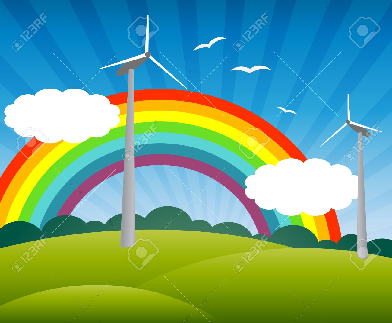 Landscape with windmills, a rainbow, birds and clouds - 9621947