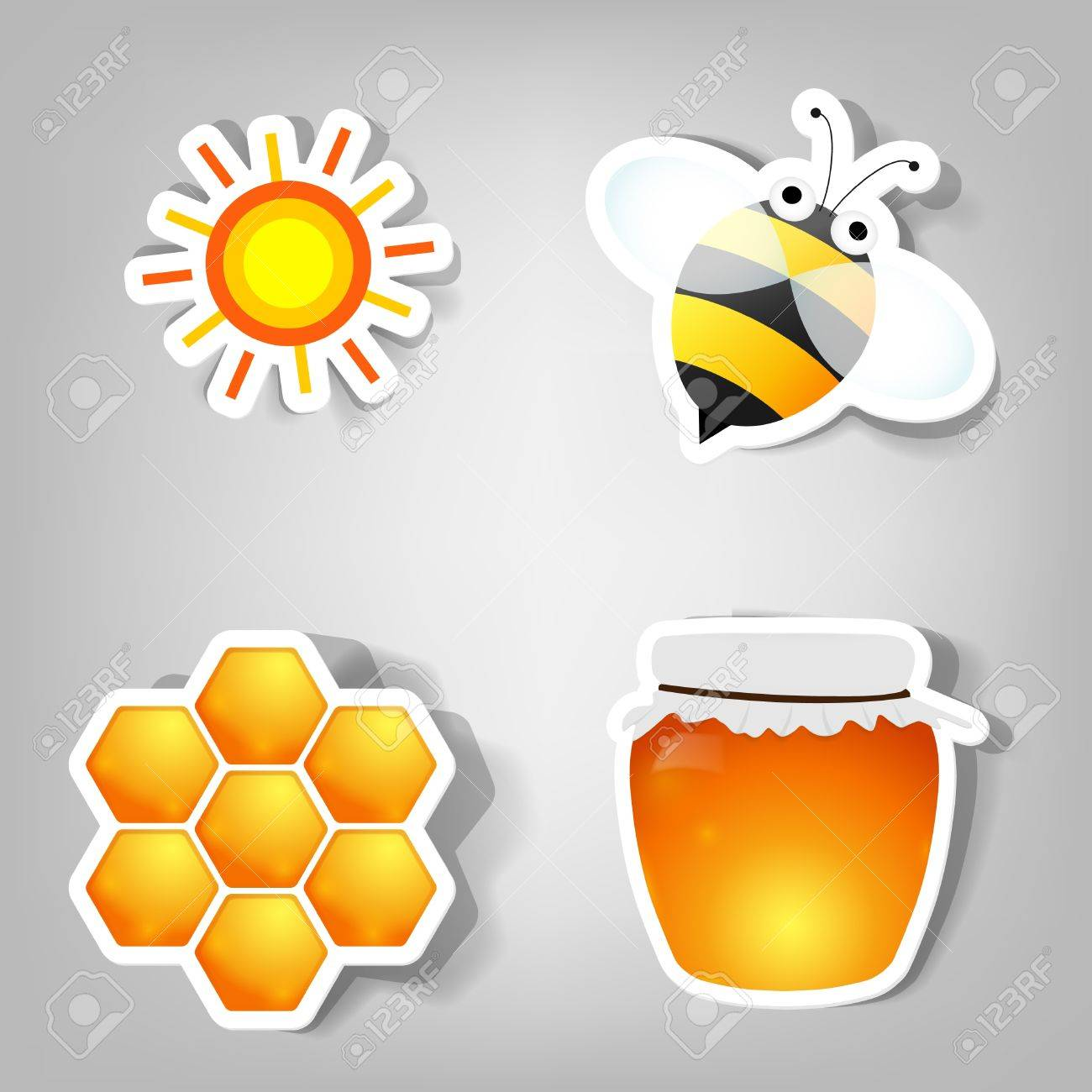 set of design elements for advertising beekeeping products - 9893208