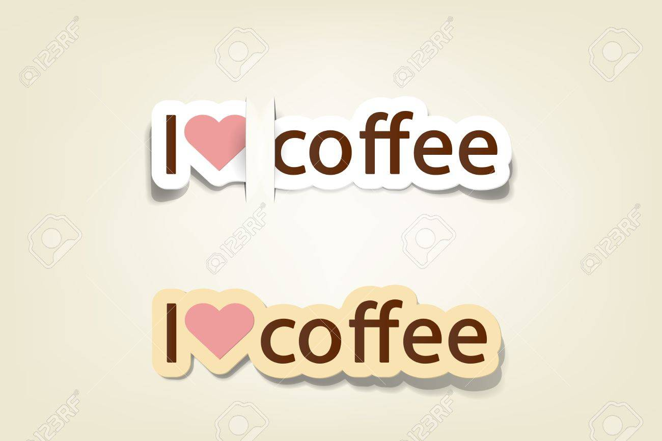 i love coffee; realistic cut, takes the background color - 9946136