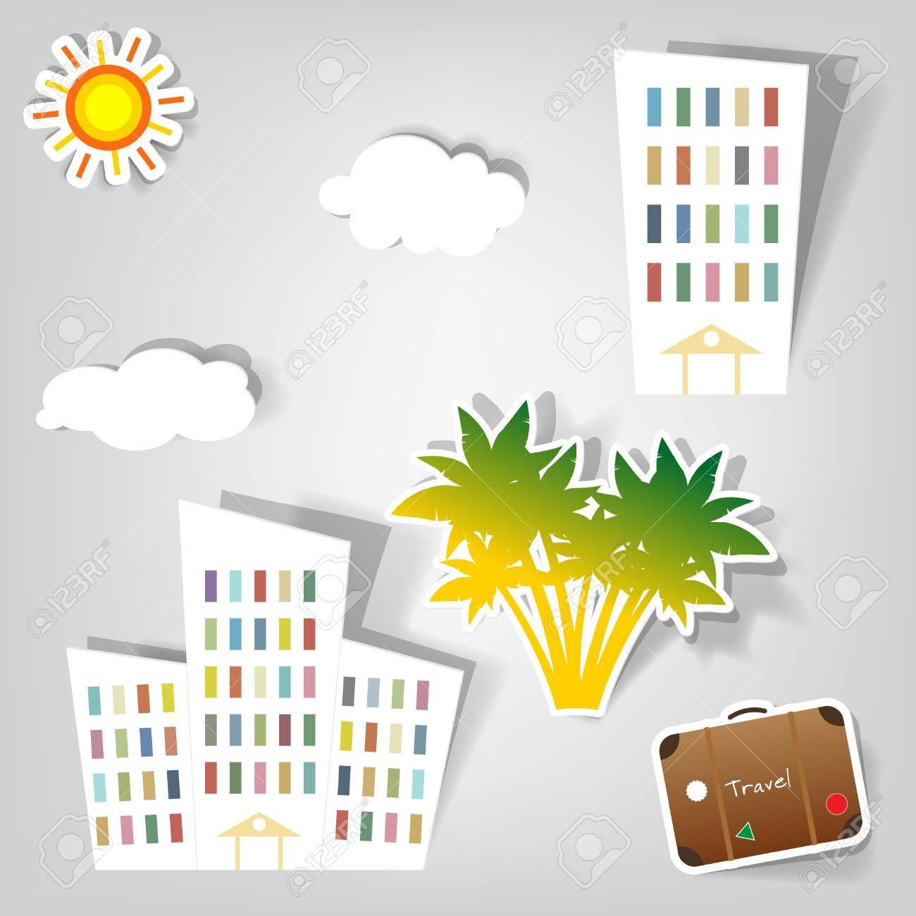 A Set Of Design Elements To Advertise Travel Services Royalty Free ...