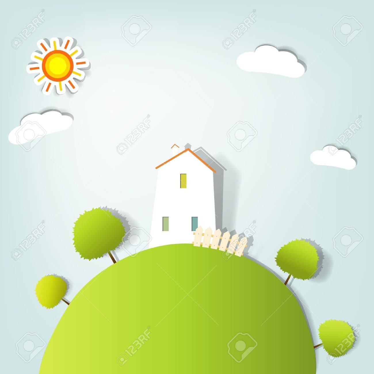 stylized landscape with a house on the hill - 10566053