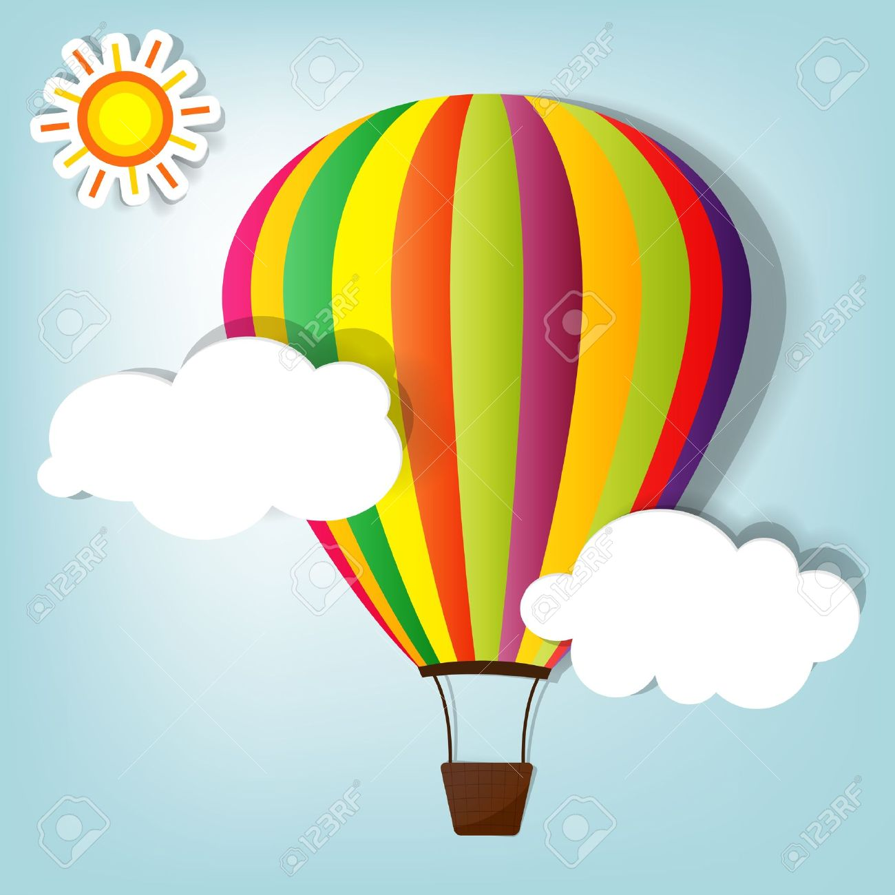 vector illustration with hot air balloon in the sky - 11620550